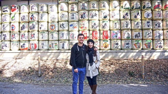 Sake offerings at Meiji Shrine