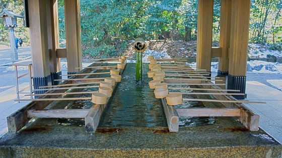 Hand washing station at entrance to Meiji Shrine