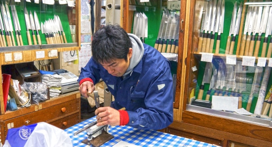Knife engraver at Tsukiji Fish Market