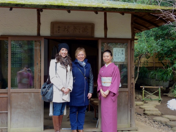 My mother and I with the Tea Master at Happo-en