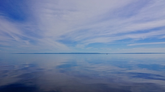 The rare still water of Georgian Bay (cottage country) at dusk, during an unsuccessful fishing trip