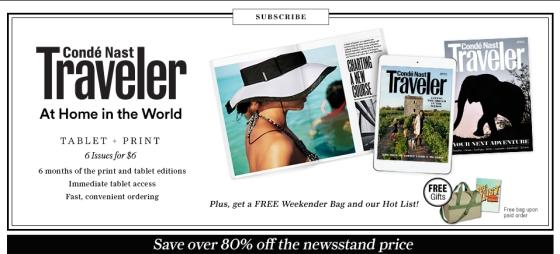 Subscribe Conde Nast Traveler